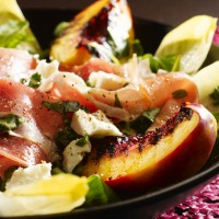Chargrilled nectarine salad, parma ham and feta salad with lemon and basil