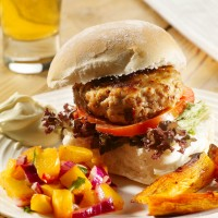 Spiced pork burger with peach and chilli salsa