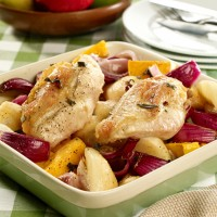 Chicken, butternut squash and pear bake