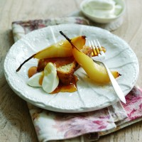Roast pears and olive oil cake