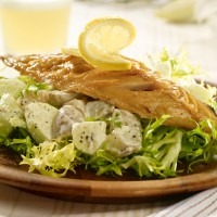 Smoked Mackerel, apple, potato and curly endive salad