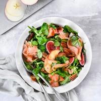 Caramelised Pink Lady, Pecan and Smoked Salmon Salad